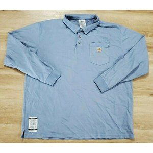 Carhartt Mens Long Sleeve Blue Polo Shirt 2XL